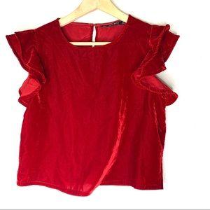 Zara red velvet cropped ruffle sleeve top size m